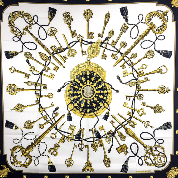 Les Cles Hermes Silk Scarf in white, black and gold