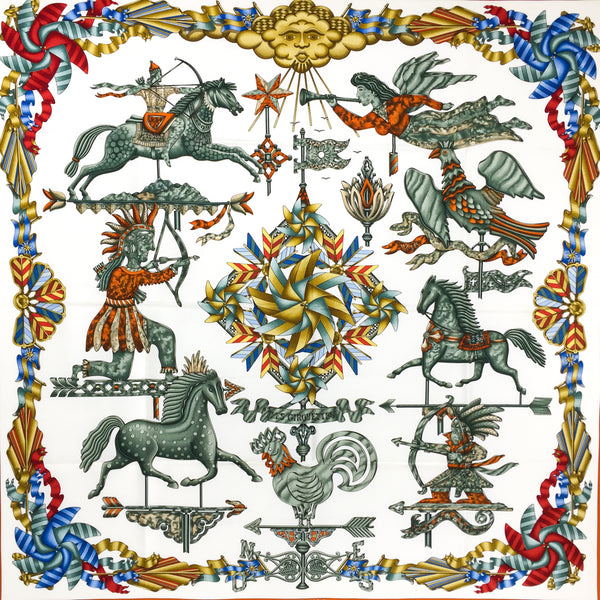 "Les Girouettes Hermes Silk Scarf 36"" x 36"""