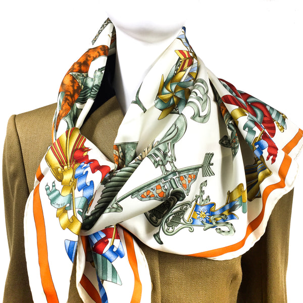 Les Girouettes Hermes Silk Scarf on mannequin
