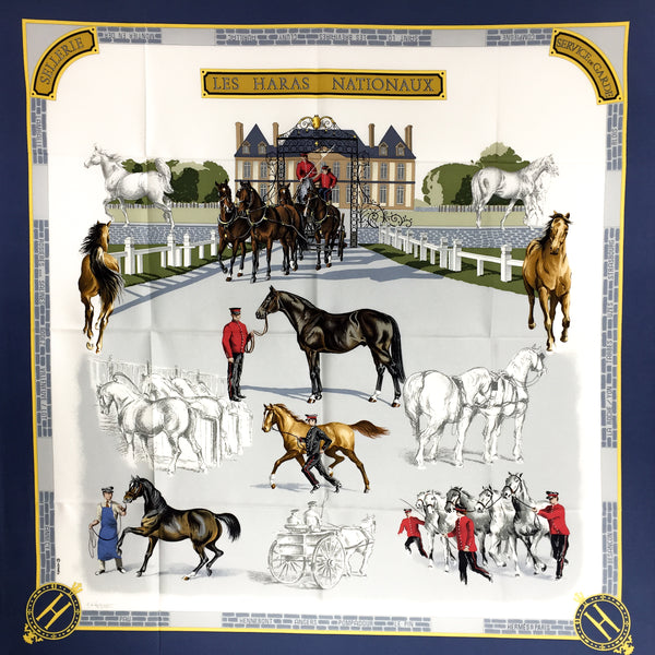 Hermes Silk Scarf Les Haras Nationaux by Watrigant from 1989