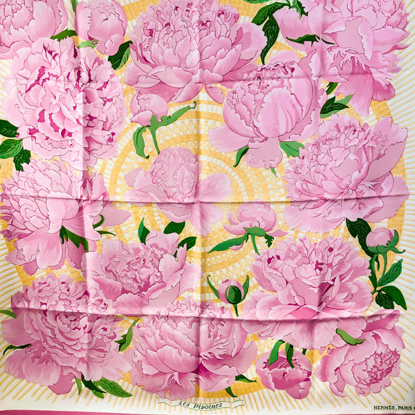 Les Pivoines Hermes silk twill scarf (100% silk) 90cm square