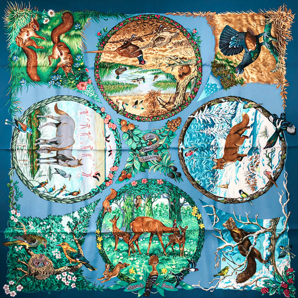 Les Quatre Saisons Hermes Scarf by Robert Dallet 90cm Silk