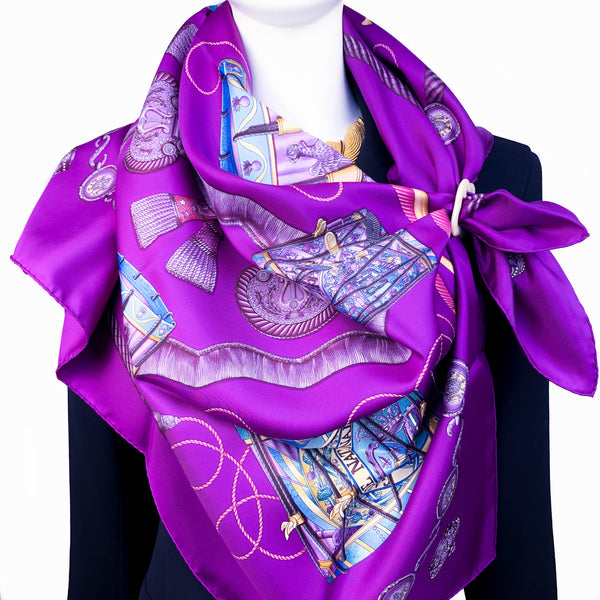 Les Tambours Hermes silk twill scarf (100% silk) - Vintage  Designed by Joachim Metz in 1989
