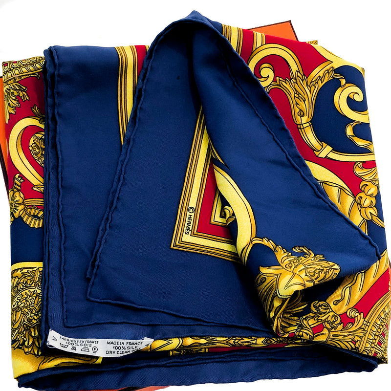 Les Tuileries Hermes silk twill scarf (100% silk) - folded with care tag