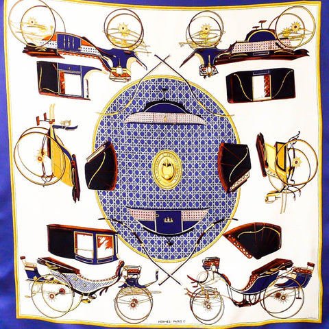Authentic Vintage Hermes Silk Scarf Les Voitures a Transformation Original Issue