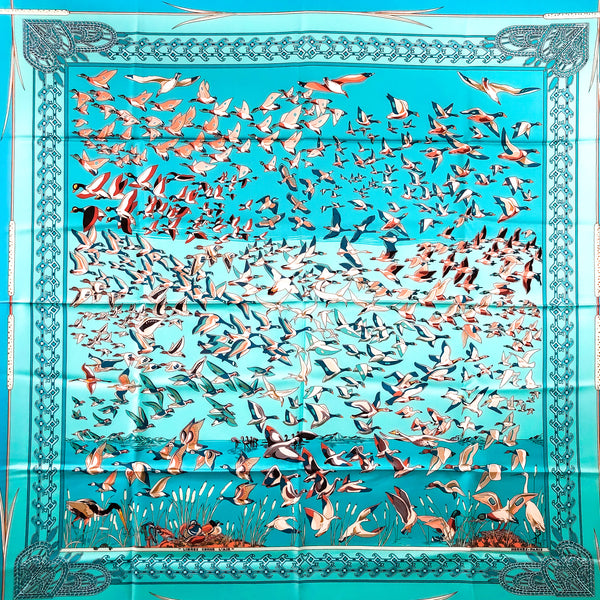 Libres Comme L'Air Hermes Scarf by Faivre 90cm Silk Turquoise