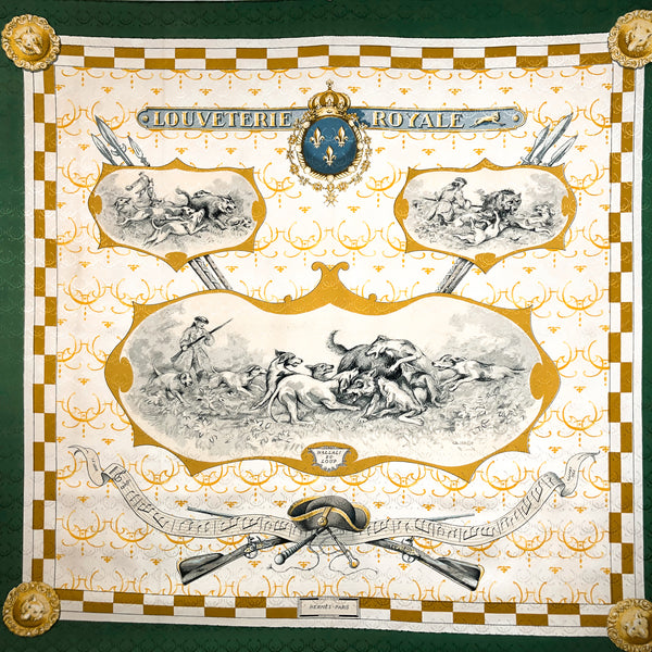 Louveterie Royale Hermes Scarf by Charles Jean Hallo 90 cm Silk Jacquard GRAIL Green Border