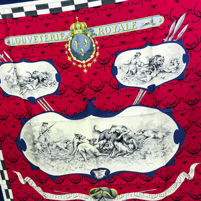 Louveterie Royale Hermes Scarf Jacquard Red and Blue - RARE