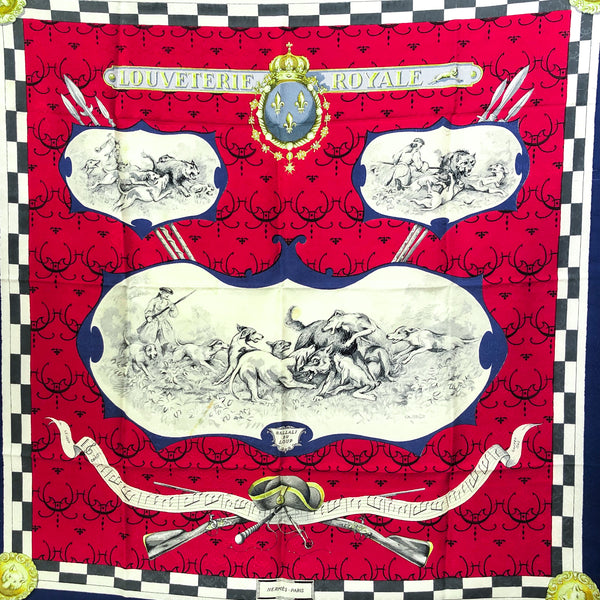 Louveterie Royale Hermes silk jacquard scarf in red, blue and off white