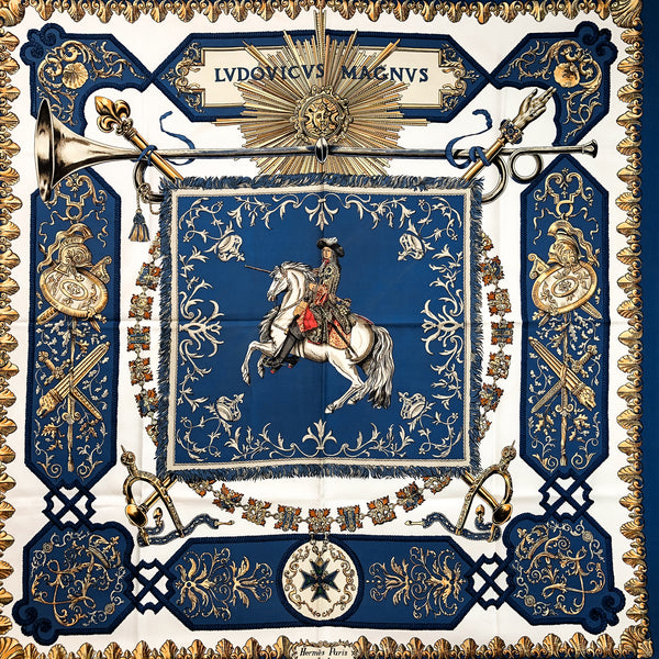 Ludovicus Magnus Hermes Scarf by Francoise de la Perriere 90 cm Silk Twill