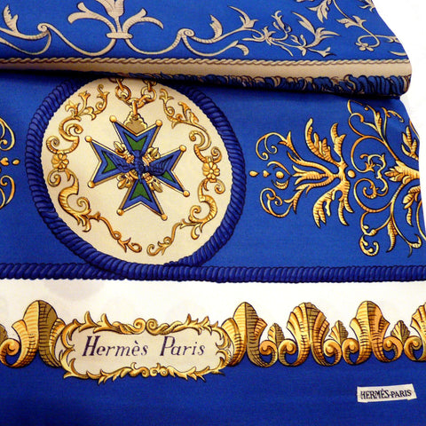 Ludovicus Magnus HERMES Silk Reversible Shawl Blue