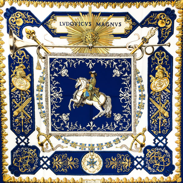 Louis XIV - Ludovicus Magnus Hermes silk scarf 90 cm twill