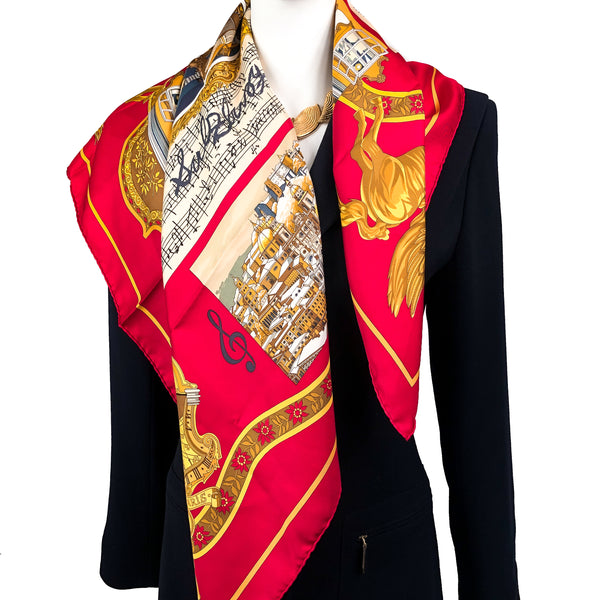 Salzburg Hermes Scarf by Dubigeon 90cm Silk Twill Red