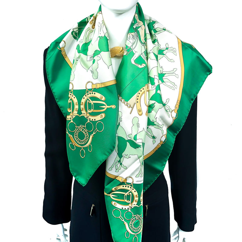 Manege Hermes Scarf by Philippe Ledoux 90cm Silk in Green