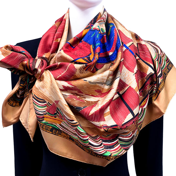 Marine Naive Hermes Scarf by Philippe Dumas 90 cm Silk Twill