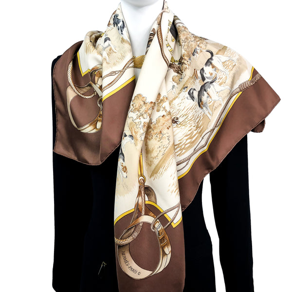 Meutes Hermès Scarf by Philippe Ledoux 90 cm Silk Twill Early Issue