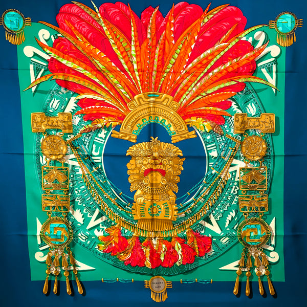 Mexique Hermes Silk Scarf in Stunning Reds, Teal & Navy | RARE