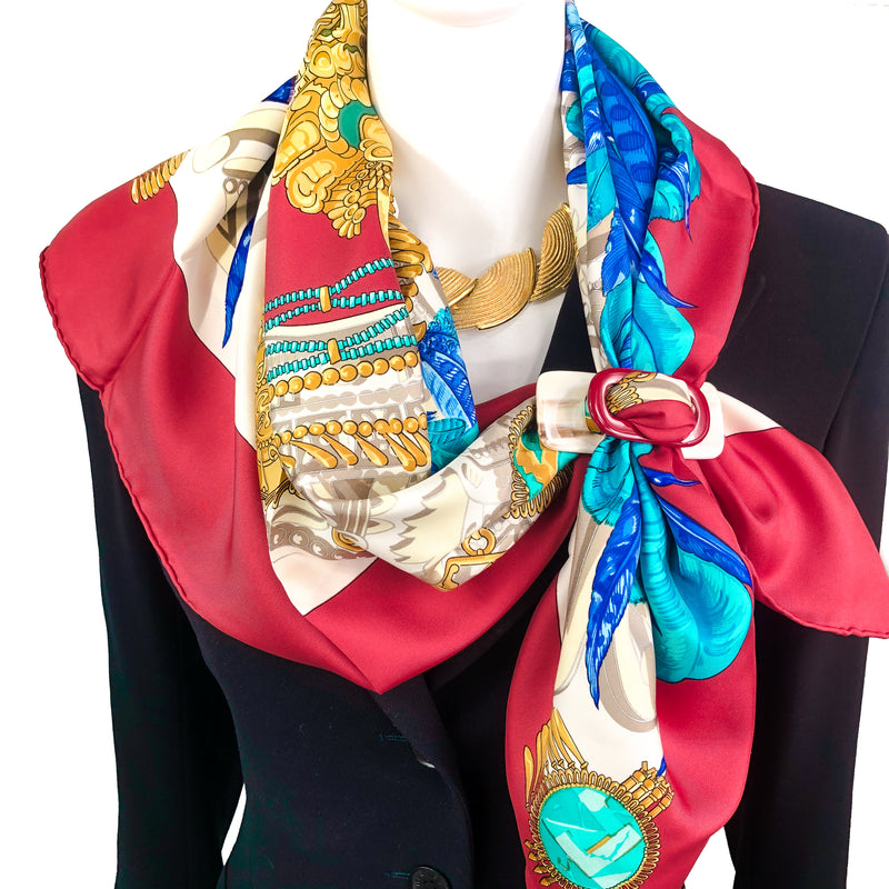 Mexique Hermes Scarf by Caty Latham 90 cm Silk Twill with Red Border | RARE