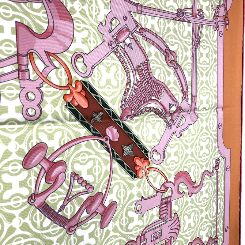 Mors et Gourmettes Remix Hermes Silk Scarf in ochre/lime/old rose