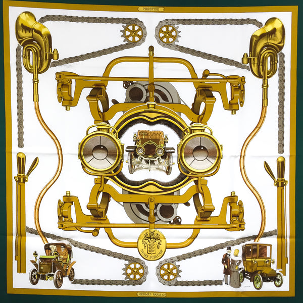 Musee Schlumpf Hermes Silk Scarf in gold, white and dark green