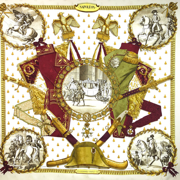 Napoleon Hermes Scarf by Philippe Ledoux 90 cm Silk Bee Jacquard