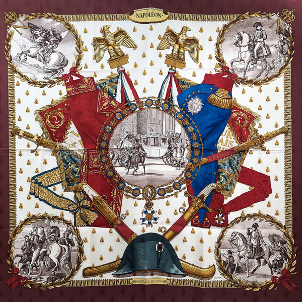 Napoleon Hermes Scarf by Philippe Ledoux 90 cm Silk Bee Jacquard Early Issue