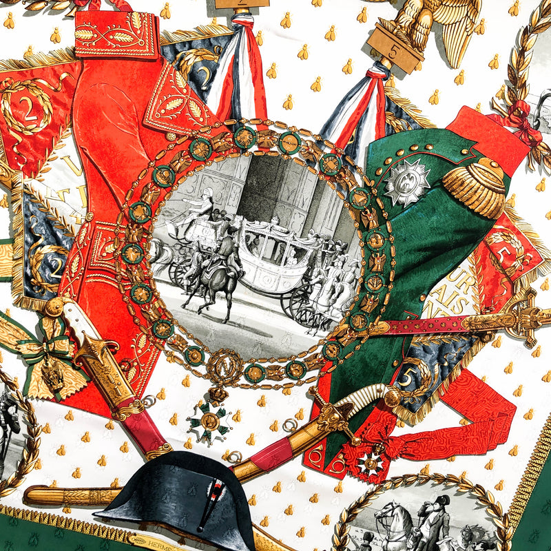 Napoleon Hermes Scarf by Ledoux 90 cm Silk Bee Jacquard