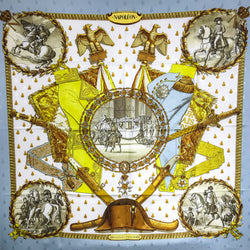 Hermes Silk Scarf Napoleon Early Issue 90 Silk Jacquard