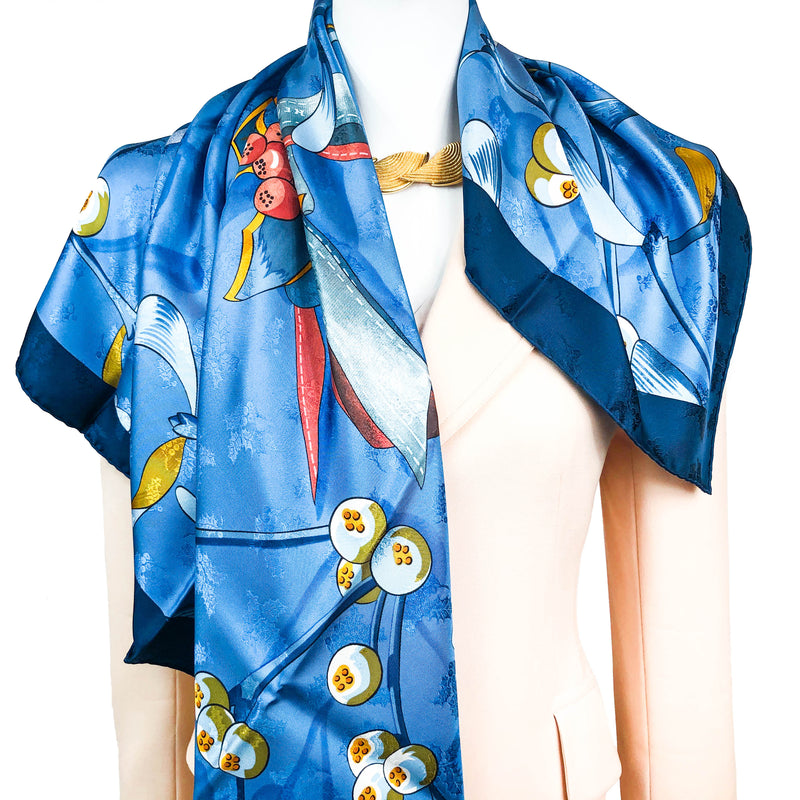 Neige d'Antan Detail Hermes Scarf by Latham 90cm Silk Jacquard
