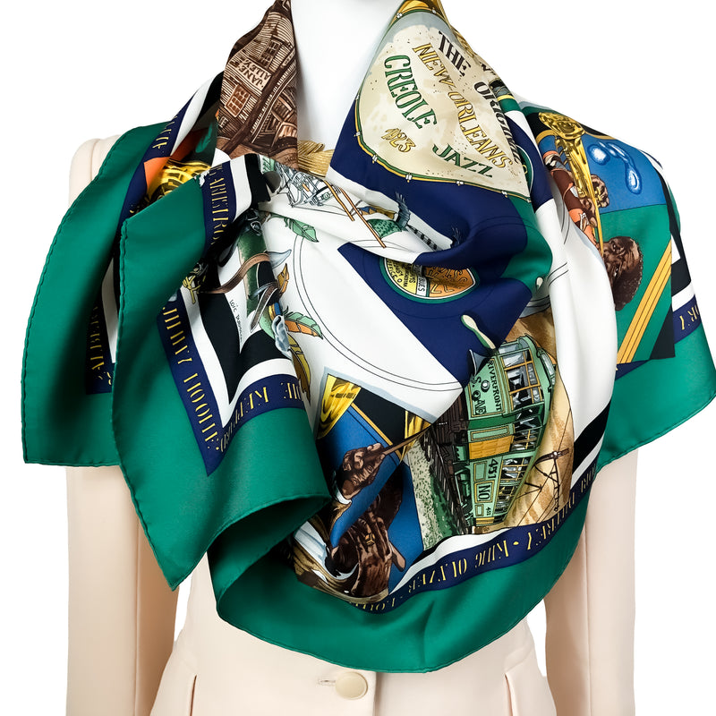 New Orleans Creole Jazz Hermes Scarf by Dubigeon 90cm Silk w/Box