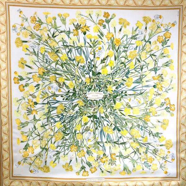 Oeillets Sauvages et Autres Caryophyllees Hermes Silk Scarf in yellow and white
