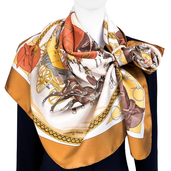 RESERVED On Epsom Downs 1836 Hermès Scarf by Philippe Ledoux 90 cm Silk Twill RARE