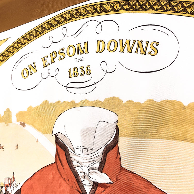 On Epsom Downs 1836 Hermès Scarf by Philippe Ledoux 90 cm Silk Twill RARE