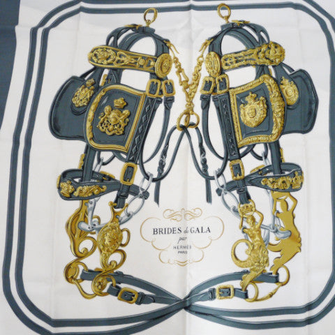 Authentic Vintage Hermes Silk Scarf Brides De Gala by Hugo Grygkar Grey