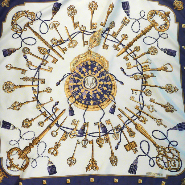 Les Cles Hermes Silk Scarf in a rare colorway