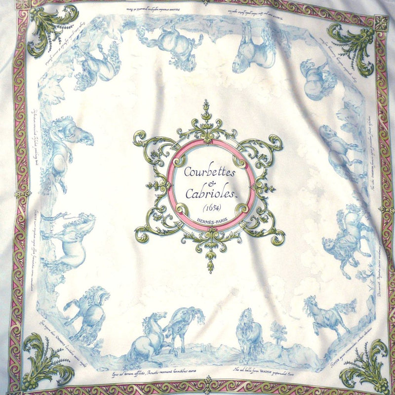 Hermes Silk Scarf Courbettes et Cabrioles (1654) 1st issue in light blue and pink