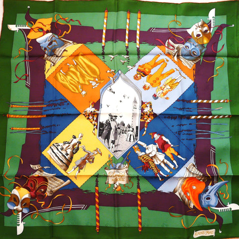 Authentic Vintage Hermes Silk Jacquard Scarf Le Carnaval De Venise Mint with Box