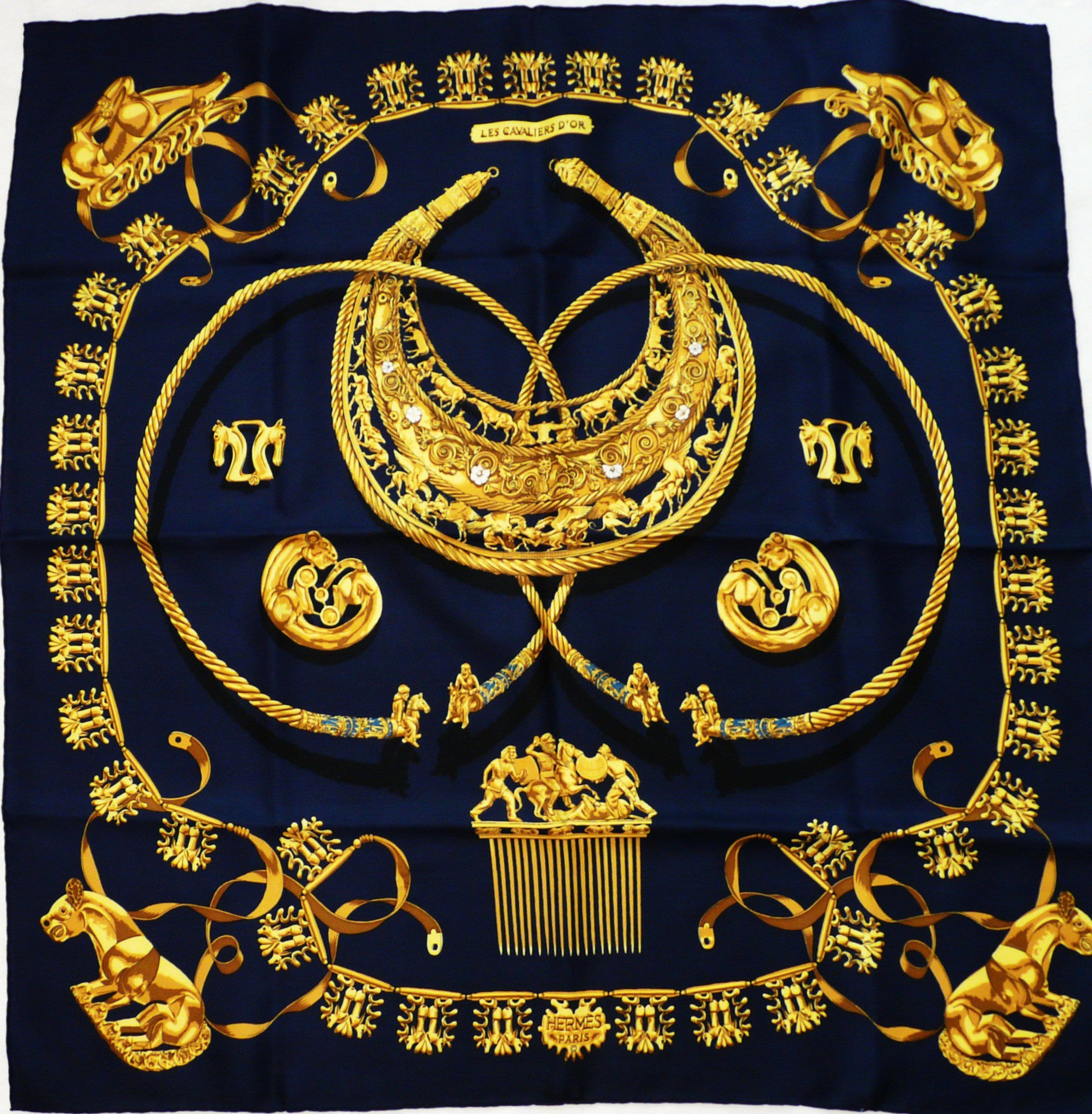 Authentic Vintage Hermes Silk Scarf Les Cavaliers D'Or by Vladimir Rybaltchenko Navy
