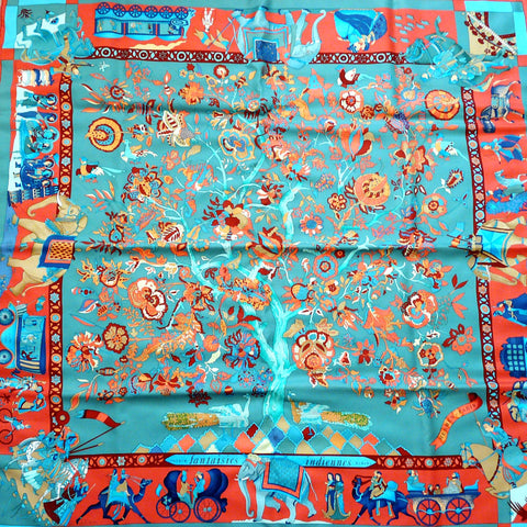 Authentic Vintage Hermes Silk Scarf Fantaisies Indiennes with Hermes Box