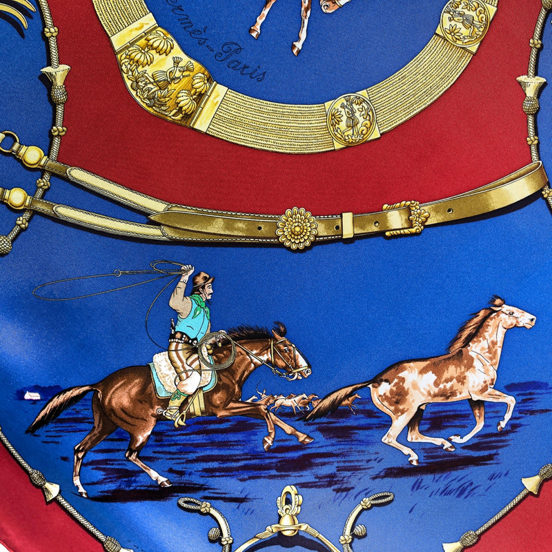 Pampa Hermes Scarf by Fougerolle 90cm Silk in Red and Blue