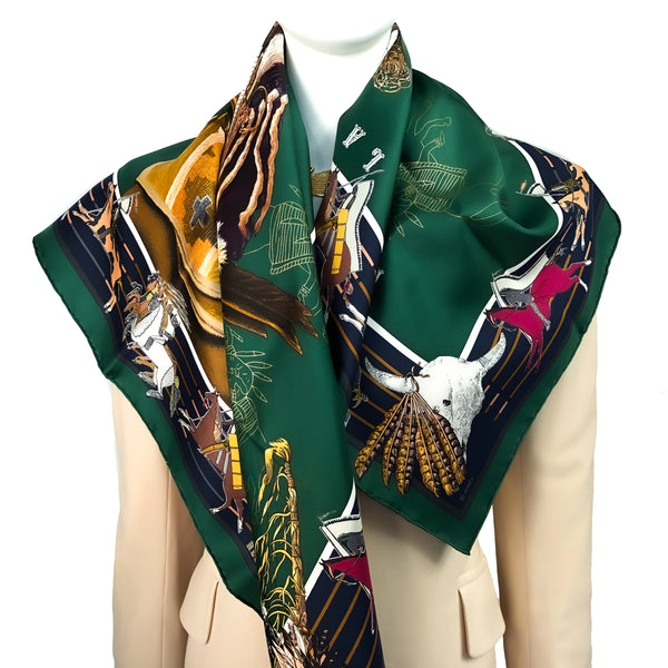 Pani La Shar Pawnee Hermes Scarf by Kermit Oliver GRAIL - Forest Green CW Unworn