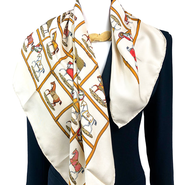 "Petit Chevaux Hermes Scarf by Jacques Eudel 80cm/31.5"" Silk Twill RARE"