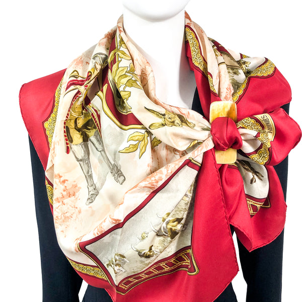 SAVE $50 - Petite Venerie Hermes Scarf by Charles Jean Hallo 90 cm Silk Twill - Red | Vintage