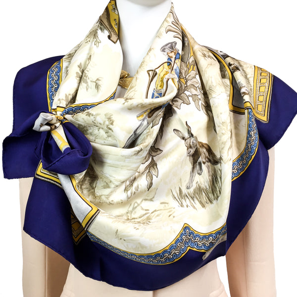 Au Pays de Cocagne Hermès silk scarf with a rabbit hunt as its theme