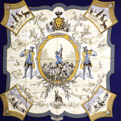 Petite Venerie Hermes Scarf 90cm with navy border