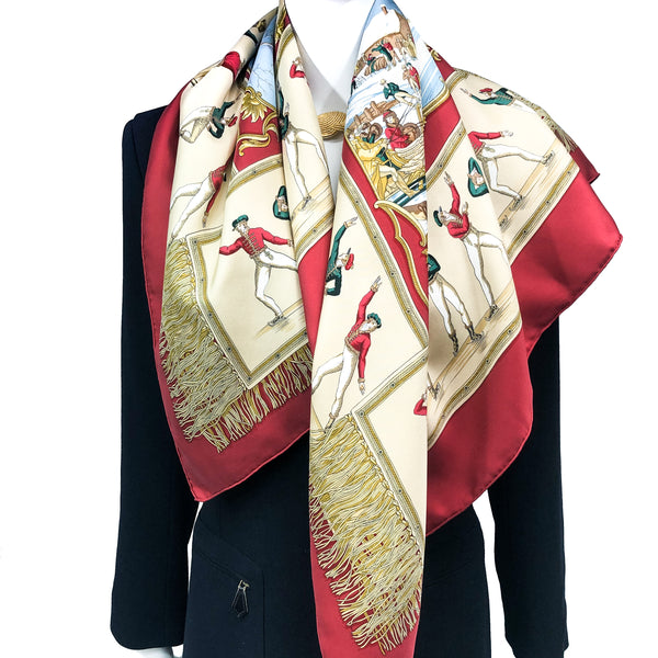 Les Plaisirs du Froid Hermes Scarf by Hugo Grygkar 90 cm Silk Twill Brick Red
