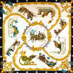 Plumes et Grelots Hermes Silk Jacquard Scarf with original packaging