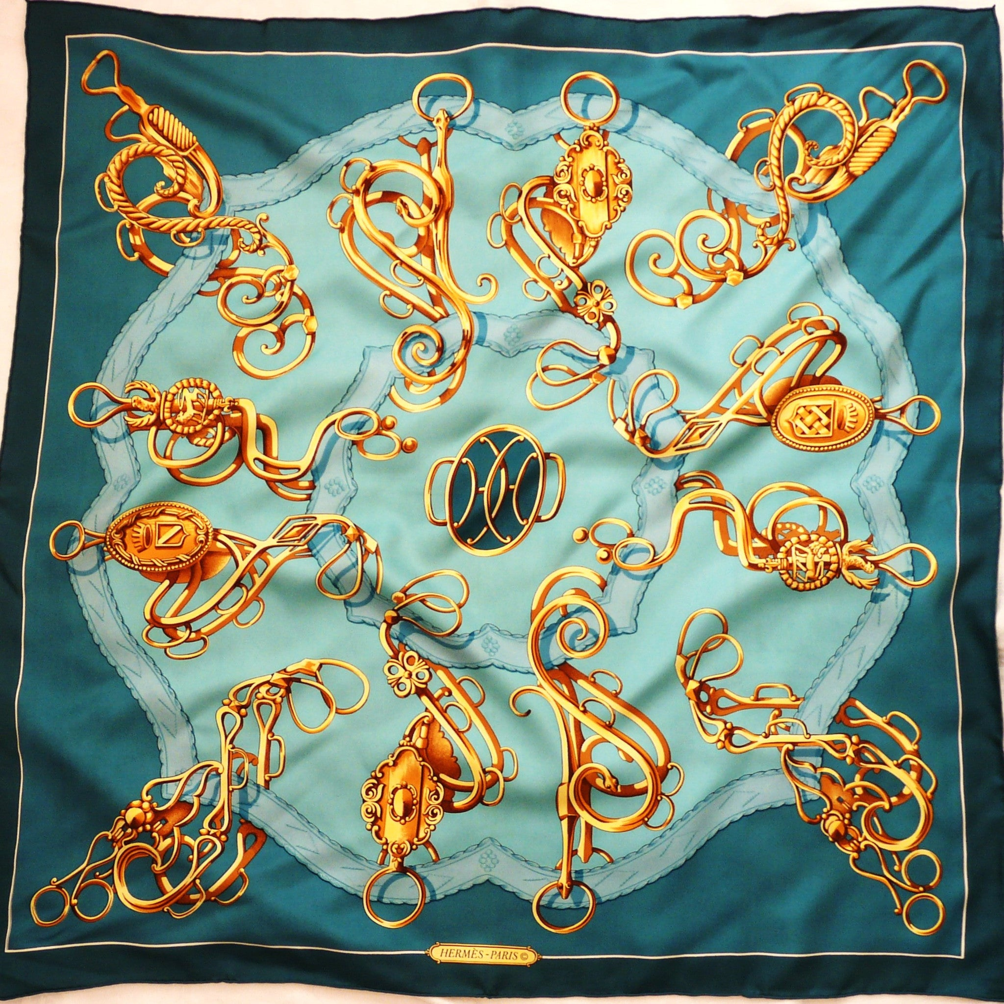 Authentic Vintage Hermes Silk Scarf Profile - Sellerie M. Guillemot 1974 Turquoise