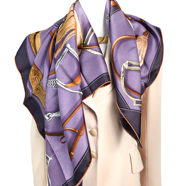 Projets Carres Hermes Scarf by Henri d'Origny 90 cm Silk Purple
