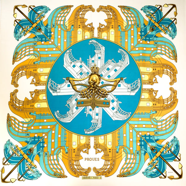 Proues Hermes Scarf by Philippe Ledoux 90 cm Silk - Early Issue